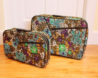 Trippy Travels... Vintage Nesting Suitcases / Luggage in Groovy Floral Pattern, Soft-sided - Made in Japan, 1960s or 1970s