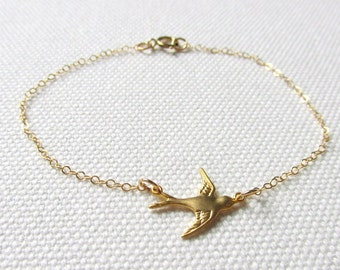 Dainty Gold Bird Bracelet Tiny Dove Delicate Modern Stacking Bracelet Layering Minimalist Little Bird Gold Fill or Plate Chain