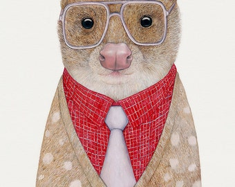 Spotted Quoll Art print, Animal Print, Small animal art, Hipster Creature, Kids Room print