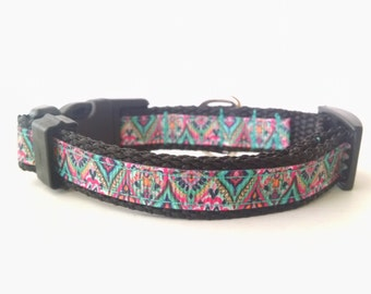 Floral Dog Collar - Adjustable Dog Collar - Flower Dog Collar - Summer Dog Collar - Summer Floral Dog Collar X-Small Jewel Medallion