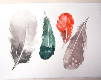 Feathers illustration, watercolor feather painting, watercolor original, four feathers in teal, coral, gray and taupe/ Feather wall art