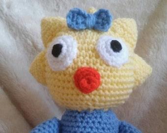 amigurumi plushie in the image of Maggie simpson/original pattern