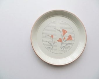 80s Erich Ironstone Ceramic Plate, Made in Staffordshire England, Peach Pink and Grey Floral