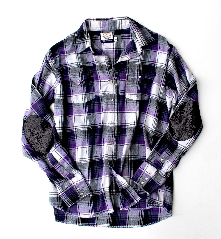 Sequin flannel shirt sequin elbow patch shirt plaid flannel for Mens flannel shirt with elbow patches