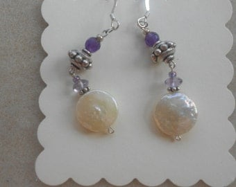 Coin pearls and amethysts