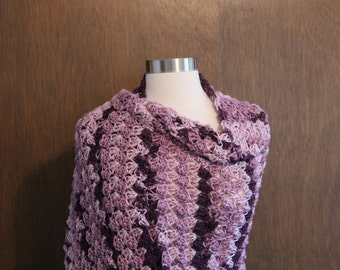 Crocheted Shawl - Purple Variegated