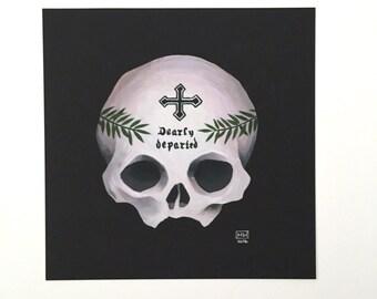 "8x8 fine art print, ""Dearly Departed"" skull art, memento mori, skeleton bone art, morbid, creepy, mourning art"