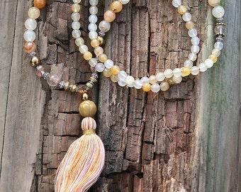 Beautiful faceted jade gemstone mala necklace