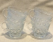 4 Wexford Cups, Anchor Hocking Wexford Punch Cups, Tea Cups, Criss Cross