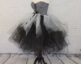 Adult hallowen costume tutu dress skull dress witch costume black white dress adult tutu zombie tutu dress day of the dead dress gothic