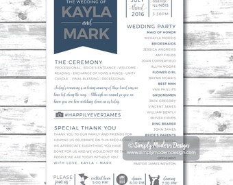 wedding program, ceremony program, banner, timeline, wedding timeline, wedding programs, wedding party, PRINTABLE or PRINTED PROGRAMS