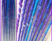 Long Bumpy Twisted Textured Synthetic Dreads - Blue Purple Blend w/Sparkles - 10 SE Accent Set - Premade Ready To Ship