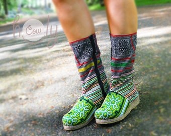 Women's Tribal Vegan Boots, Womens Boots, Tribal Boots, Vegan Boots, Hmong Boots, Hippie Boots, Boho Boots, Green Boots, Ethnic Boots, Boots