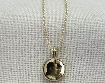 12mm round pendant custom photo necklace