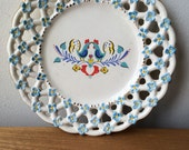 Small Kitsch Rooster Plate with Flowers In Blue, Yellow and Gold Accents