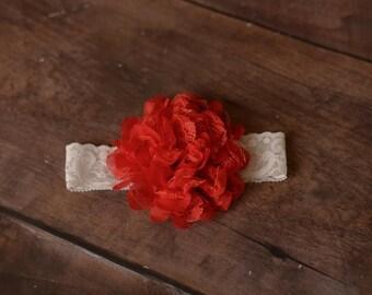 Red Baby Headband, Red Headbands, Red Newborn Headbands, Red Flower Headbands, Photography Props, Headbands Red