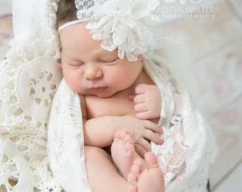 FREE SHIPPING! White Flower Headband, White Baby Headband, White Headbands, Newborn Headbands, Christening Headbands, Baptism Headbands