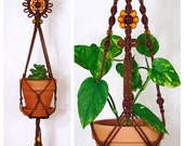Hanging Plant Holder, Macrame, Succulent, Brown Rope Planter, Yellow Flower, Hippie Gardener Gift, Fall, Autumn Décor, Indoor Hanger