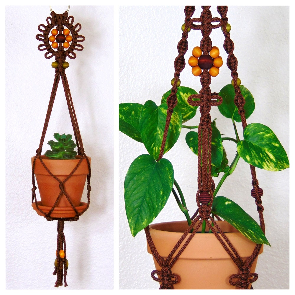Hanging Macrame Planter Indoor Macrame Plant Holder Brown