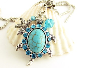 Turtle Necklace, Starfish Necklace, Beach Jewelry, Turtle Jewelry, Turquoise Necklace, Sea Life Necklace