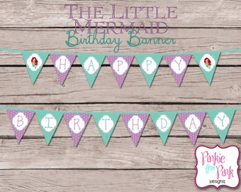INSTANT Download The Little Mermaid Ariel Happy Birthday Pennant Banner- Digital File Download