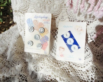 Two Vintage Button sets on Orginal Card Luckyday  Genuine Pearl Buttons