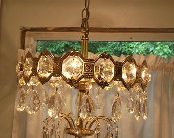 Vintage Hollywood Regency Chandelier. Crystal Prism Chandelier