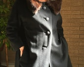 50s cashmere swing coat, mink collar, embossed buttons, grograin satin lining