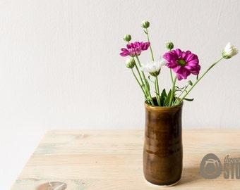 Mini Vase - Brown individual Flower Vase - Stoneware Pottery