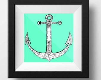 Redwood art, Ink Drawing, Anchor Decor, Ocean Art, Redwood Drawing, Ink Art, Ocean Drawing, Anchor Art, Whale Art, Anchor Print, Inktober
