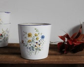 Wheel thrown small vase Ceramic vase Flower decal White and blue ceramics with flowers - Ready to ship