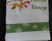 Kitchen Tea Towel Dish Towel Embroidered FELINE FANCY Winter Christmas CAT Design with Decorative Trim