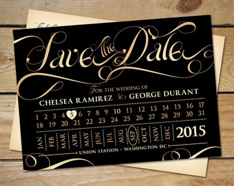 Train Ticket Save the Date Wedding Postcard, Printable Save the Date // Black and Gold Wedding // Calendar Save the Date
