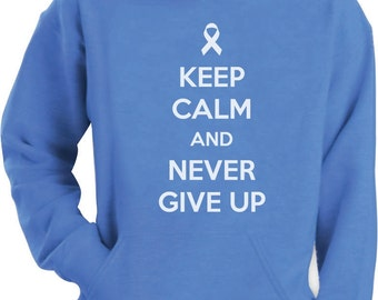 Keep Calm and Never Give Up - Cancer Awareness - Men's Hoodie