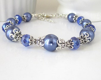 Periwinkle Wedding Bracelet, Cornflower Blue Bridesmaid Jewellery, Pearl and Crystal Bridal Sets, Blue Violet Weddings, Bridal Party Gifts,