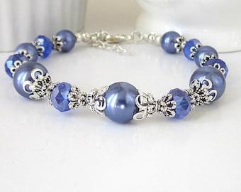 Periwinkle Wedding Bracelet, Cornflower Blue Bridesmaid Jewellery, Pearl and Crystal Bridal Sets, Blue Violet Weddings, Bridal Party Gifts,