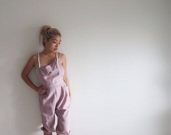 Pink Linen overalls jumpsuit romper onesie parachute harem slouchy pants capris