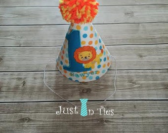 Lion Jungle Theme Baby Boy First Birthday Party Hat