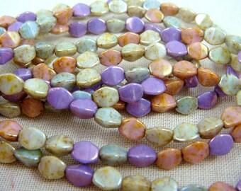 Czech Beads, Czech Glass Pinch Beads - Multi-Color Luster Mix (P/N-005) - 5mm Pinch Beads - Qty. 30