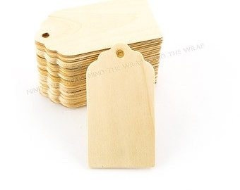 24  Scallop Top Wood Tags - Large  3 x 1 5/8 inches - Natural Unfinished Wooden tags - Labels Wedding Favors Gifts