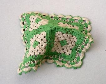 Beige And Green Doily, Square Crochet Doily , Folk Art  Decor , Rustic Decor