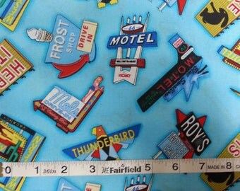 100% cotton Quilting fabric by the 1/2 yard route 66 travel vacation  roadside attractions vintage motel landmark