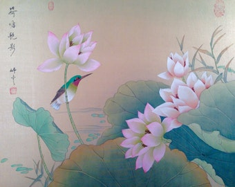 "Vintage CHINESE Painting LOTUS Flower Bird Hand Painted Watercolor on Silk Brocade Border 20"" by 24"""