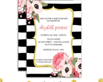 Floral Watercolor Invitation, Pink and Gold Baby Shower, Black and White Baby Shower, Baby Girl, Watercolor Stripes,  Printable  or Printed