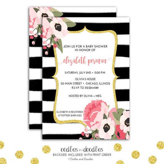 Floral Watercolor Invitation, Pink And Gold Baby Shower
