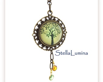 Tree-of-Life Antiqued Brass Necklace Swarovski Birthstone(s) Charms Personalized Jewelry FREE SHIPPING