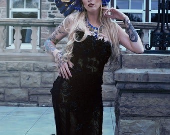 Sheer Venice Lace Embellished Gown