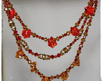 SALE...Fire and Ice Swarovski Crystal Necklace