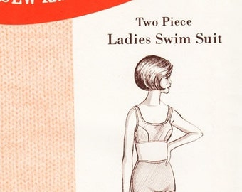 1960s Misses Two Piece Swimsuit Pattern Sew Knit N Stretch 153 Curved Seam Boy Shorts Vintage Sewing Pattern Size 14 16 18 UNCUT