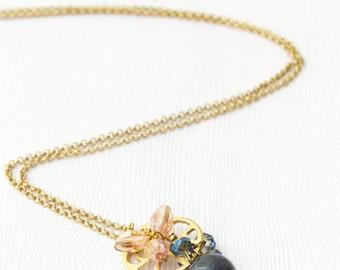 Semi Precious Pendant, Long Necklace, Gold Pendant Necklace, Layering Necklace, Semi Precious Necklace, Dainty Necklace, Thin Chain LN48